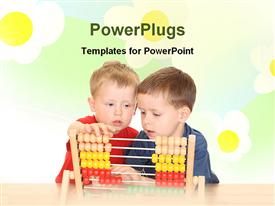 PowerPoint template displaying boys are learning mathematics