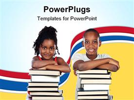 PowerPoint template displaying two young children smiling and resting on two stacks of books