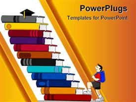 PowerPoint template displaying a cartoon of a boy climbing up a flight of stairs made with books