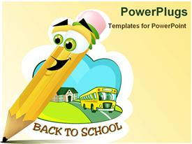 Cartoon of a pencil that is very happy that he is writing something on a piece of paper powerpoint design layout