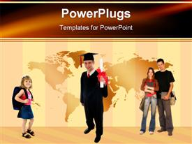 PowerPoint template displaying casual graduate at university