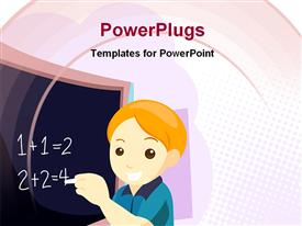 PowerPoint template displaying smiling boy doing sums at classroom chalkboard
