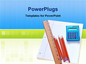 PowerPoint template displaying educational materials, calculator, pencils, ruler and an exercise book