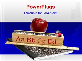 PowerPoint template displaying red apple and meter rule sits on exercise book