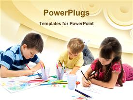 PowerPoint template displaying three children drawing with colored pencils, arts and crafts, school, art education