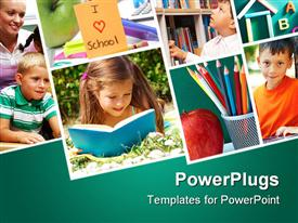 PowerPoint template displaying collage of schoolchildren in studying process and education objects