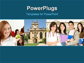 PowerPoint template displaying collage of learning related depictions with students in classroom