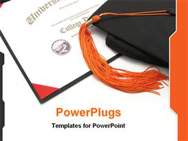 PowerPoint template displaying graduation theme with graduation hat on top of certificate diploma university college certificate