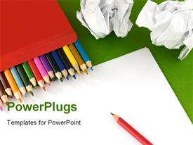 PowerPoint template displaying color pencils in a box and a clean sheet of a paper in the background.