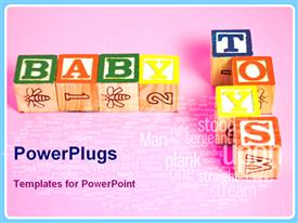 PowerPoint template displaying alphabet blocks spell baby toys with military word cloud