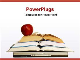 PowerPoint template displaying concept of education with books and laptop in the background.