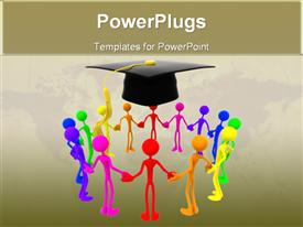 PowerPoint template displaying group holding hands together for success graduation every color