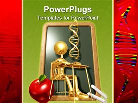 PowerPoint template displaying school theme, 3D golden figure sitting in the classroom in the bench, with chalkboard and white chalk apple and DNA strands