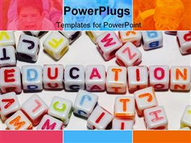 PowerPoint template displaying conceptual depiction of education using colored alphabet cubes in the background.