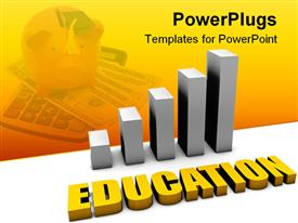 PowerPoint template displaying cost of Education Increasing in 3D With Bar Graph