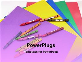 PowerPoint template displaying a lot of crayon colors with charts in the background