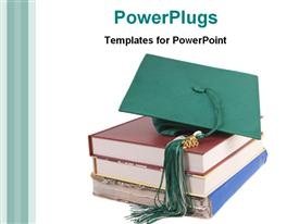 Degree hat on books powerpoint design layout