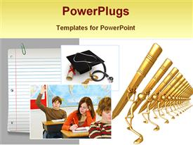 PowerPoint template displaying a number of pens , a degree, a cap and students