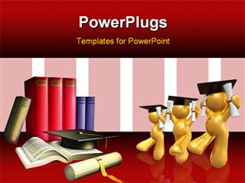 PowerPoint template displaying three gold plated 3D graduates with book pile and academic award