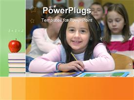 PowerPoint template displaying school kids learning with red apple on pile of books