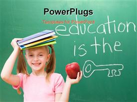PowerPoint template displaying education is the Key written on a chalkboard