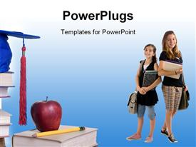 PowerPoint template displaying two students with bluish background and bags
