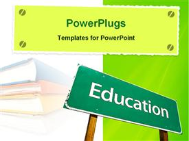 PowerPoint template displaying an education board along with books in the background
