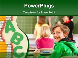 Education - Young female teacher with pupil in his form of the elementary or primary school teaching template for powerpoint