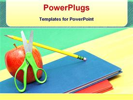 PowerPoint template displaying educational kits in the background.