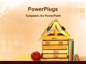 PowerPoint template displaying educational kits with apple in the background.