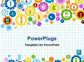 PowerPoint template displaying squared notebook background with various shapes and symbols depicting letters and numbers