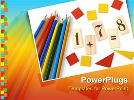 PowerPoint template displaying educational tools set for the primary school
