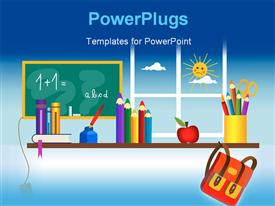 First day in the school - School accessories on the shelf powerpoint template