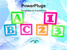 PowerPoint template displaying blue eyes with binary digits with colorful alphabets and numbers