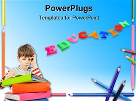 PowerPoint template displaying colored letters form word EDUCATION with kids writing over book pile