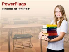 Girl carrying books in classroom template for powerpoint