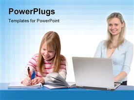 PowerPoint template displaying smiling teacher with laptop and kid writing over blue desk