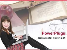 PowerPoint template displaying happy girl child student using laptop with books, apple and glasses, education, learning, school