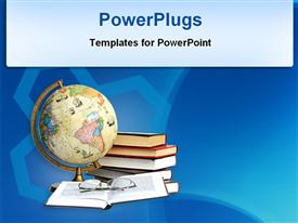PowerPoint template displaying globe and books with blue background