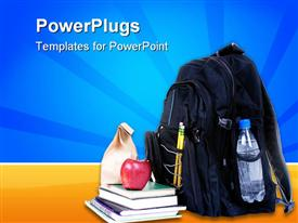 PowerPoint template displaying backpack, water bottle, books, sack lunch, education, school