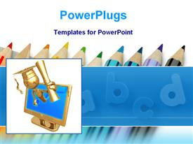 Golden graduate model with colored pencils powerpoint theme