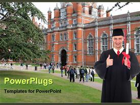 PowerPoint template displaying lots of humans with one wearing an academic gown