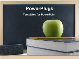 PowerPoint template displaying green teachers apple on textbook with chalkboard and pencil education school