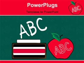 PowerPoint template displaying green chalkboard with chalk eraser and apple - education