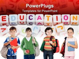 PowerPoint template displaying four kids carrying school bags and learning materials with education cube