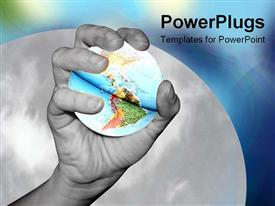 PowerPoint template displaying hand holding the world in the background.
