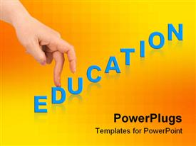 PowerPoint template displaying two fingers from a hand walking up an education text