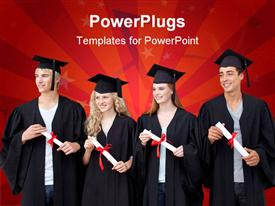 PowerPoint template displaying happy group of people celebrating after Graduation