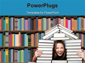 PowerPoint template displaying a girl with a lot of books and library in background