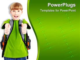 PowerPoint template displaying smiling school boy wearing backpack giving thumbs up gesture